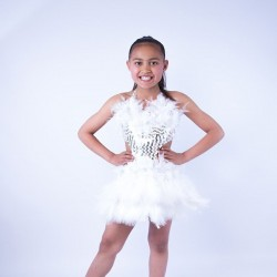 Childrens Feather Dress No 8 White
