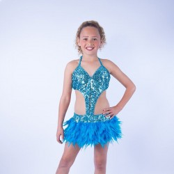 Childrens Feather Dress No 1 Blue