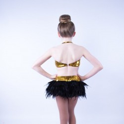 Julie Jazz Leotard with Feather Skirt Black and Gold