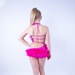 Childrens Feather Dress No 2 Hot Pink