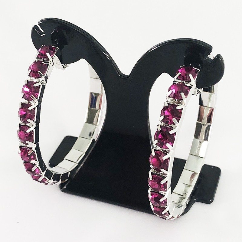 Hot Pink Crystal Classic Showgirl Hoops House Of Priscilla
