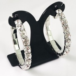 House Of Priscilla Classic Showgirl Hoops Crystal