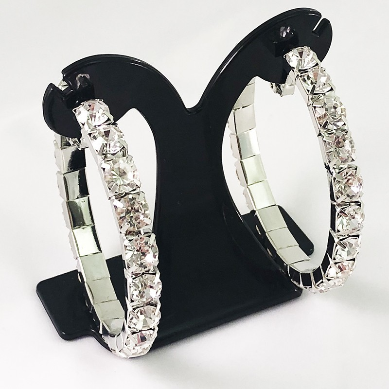 House Of Priscilla Classic Showgirl Hoops Clear Crystal