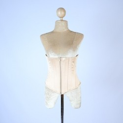 Nude Champagne Satin Cincher with Zip Front with Lace Up Back