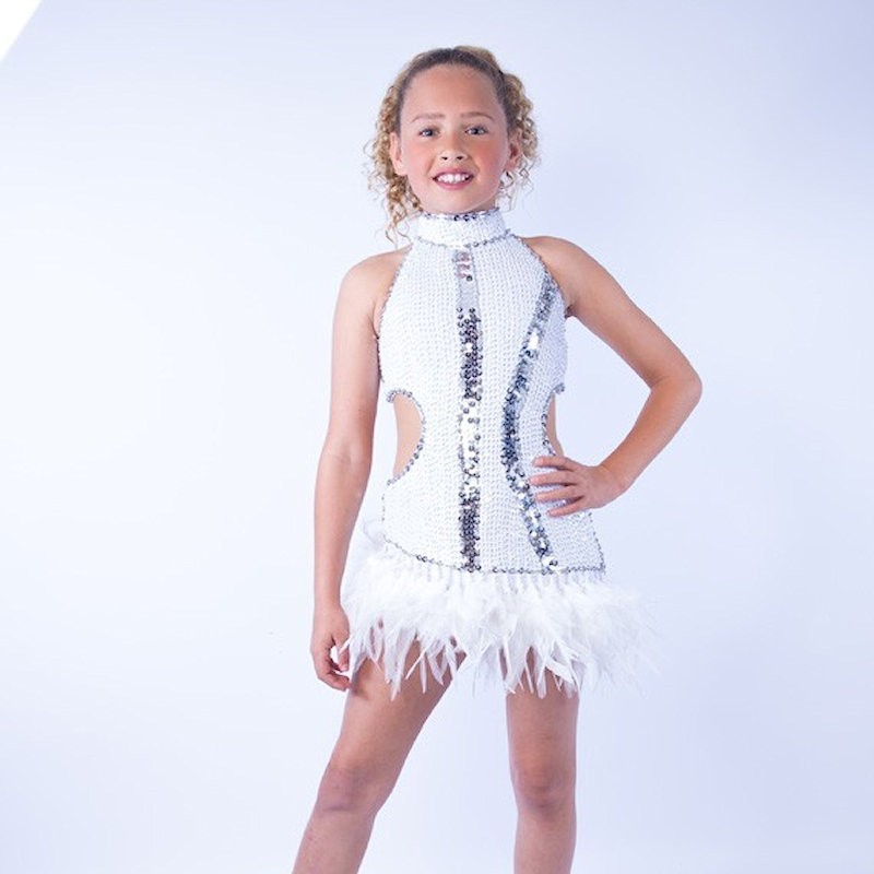Ally Feather Sequin Dress White
