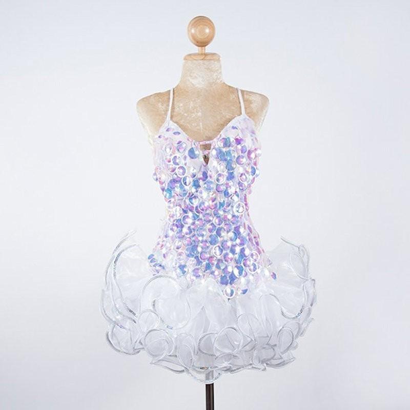 Custom Order Pop Sequin Americano Ruffle Organza Dress White