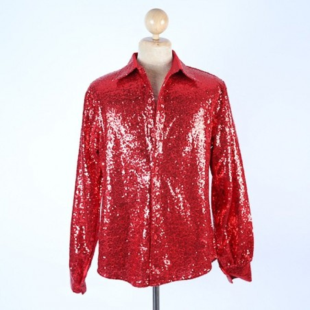 Sequin Shirt Red