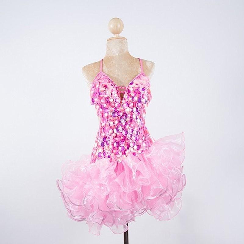 Custom Order Pop Sequin Americano Ruffle Organza Dress Baby Pink