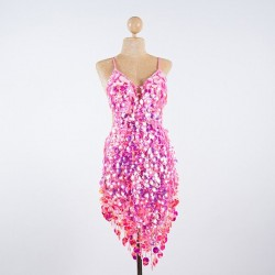 Custom Order Pop Sequin V Dress Pink
