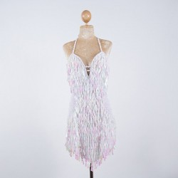Custom Order Tear Drop V Sequin Dress White