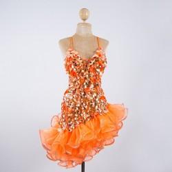 Custom Order Pop Sequin Americano Ruffle Organza Dress Orange