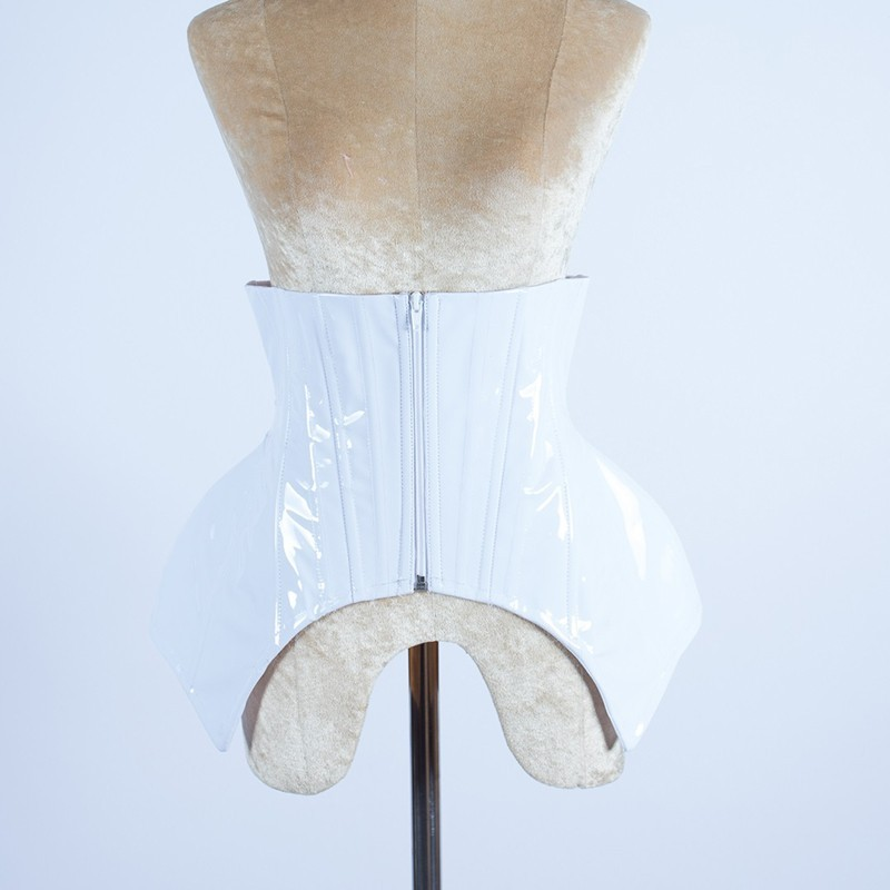 PVC Under Bust Hip Corset with Lace Up Back White