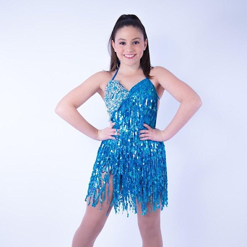 Aqua Cabaret Sequin Fringe Dress