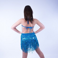 Cabaret Sequin Fringe Dress Aqua