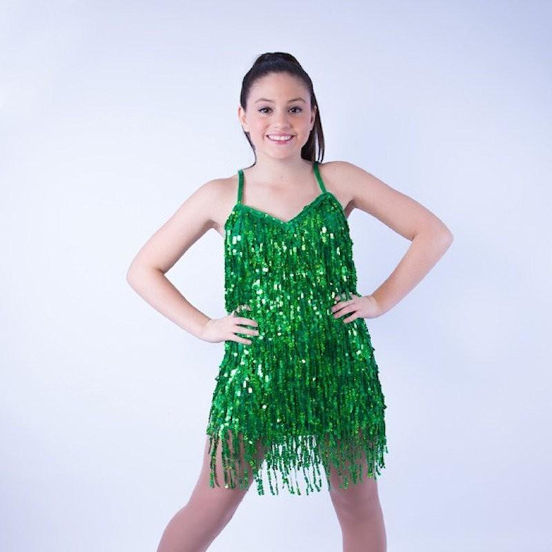 Cabaret Sequin Fringe Dress Dark Green