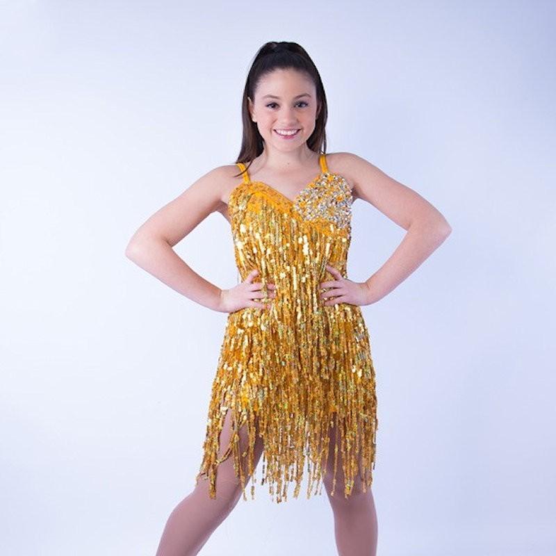 Cabaret Sequin Fringe Dress Gold