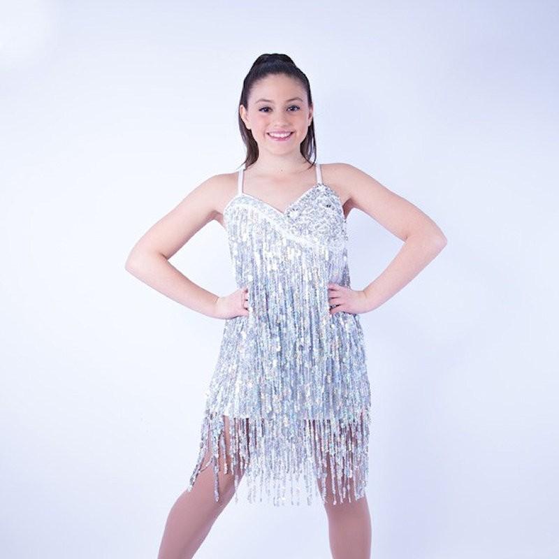 Silver Cabaret Sequin Fringe Dress