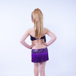Candy Fringe Leotard and Skirt Black Purple