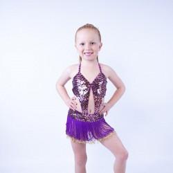 Julie Jazz Sequin Leotard and Fringe Skirt Gold Purple
