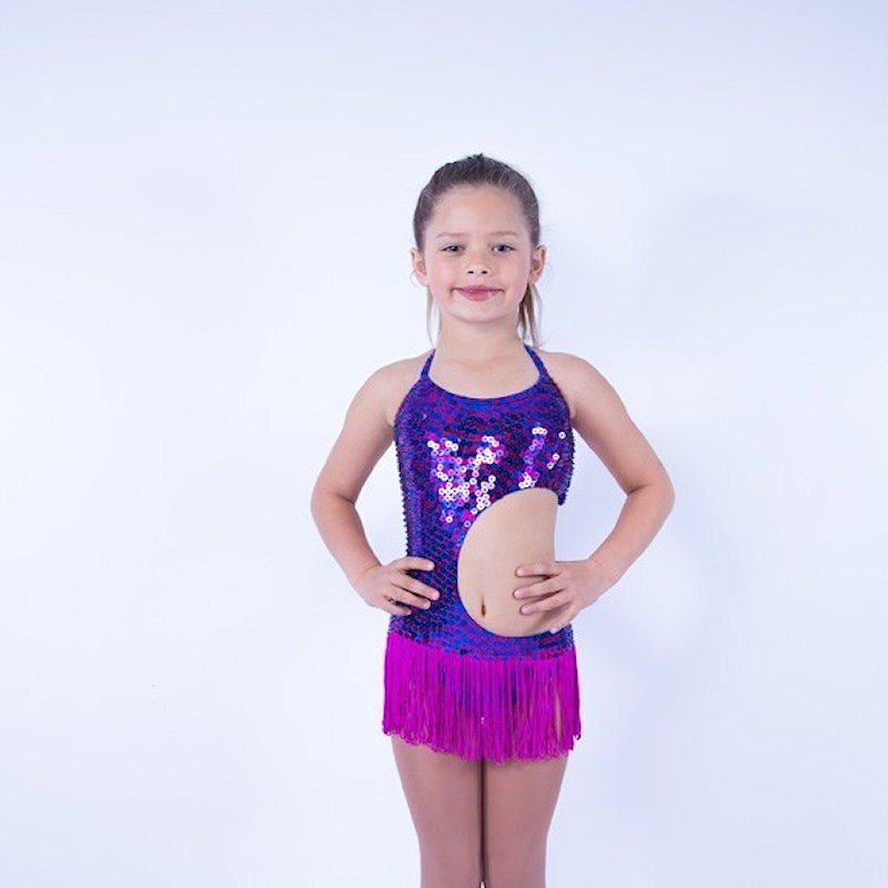Lucy Sequin Leotard with Fringe Skirt Purple Hot Pink