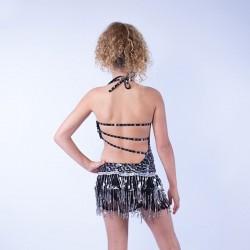 Lucy Sequin Leotard with Fringe Skirt Set Black Silver