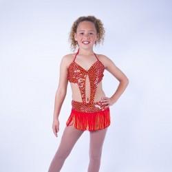 Julie Jazz Sequin Leotard and Fringe Skirt Set Red Orange