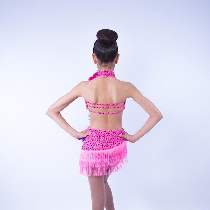 Ally Sequin Flower Fringe Dress Hot Pink Purple
