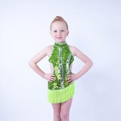 Lime Green Ally Sequin Fringe Dress