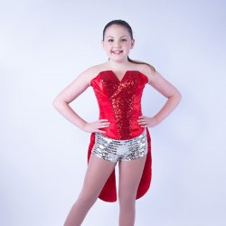 Childrens  Sequin Dress No 01 Red and Silver