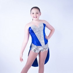 Childrens Sequin Dress No 01 Royal Blue and Silver