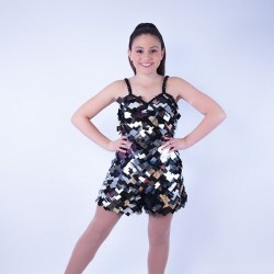 Childrens  Sequin Dress No 03 Black and Silver