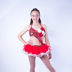 Childrens Sequin Dress No 05 Red and Silver