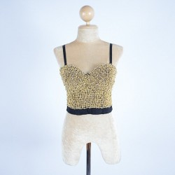 Gold Bugle Bead and Black Bralette