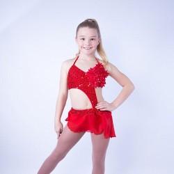 Candy Flower Chiffon Dress Red