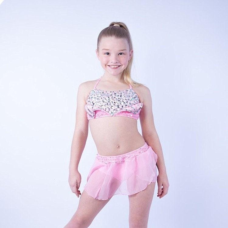 Kayla Diamante Crop Set Light Pink