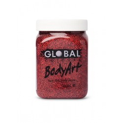 Global Body Paint 200ml Red Glitter