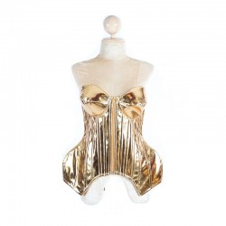 Metallic Cup Hip Corset with Lace Up Back Gold