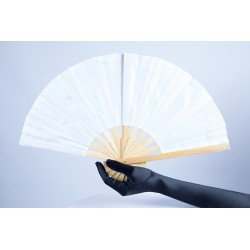 White Bamboo Handle Party Fan