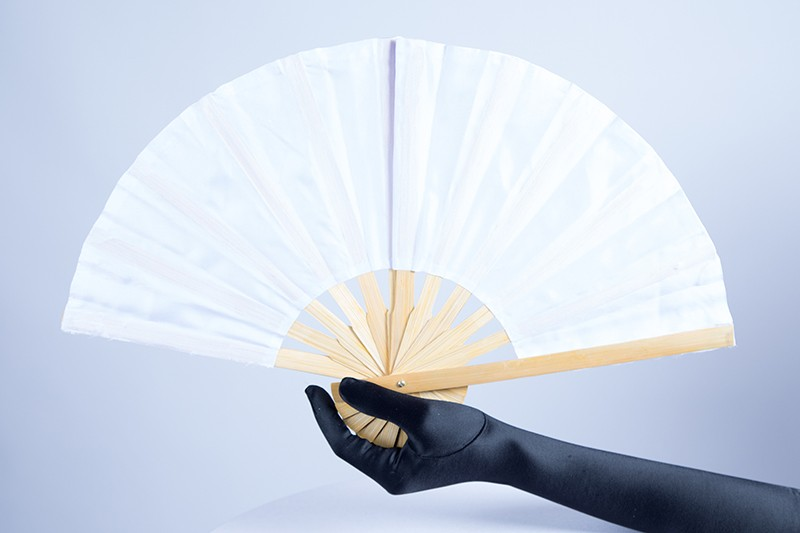 Bamboo Handle Party Fan White