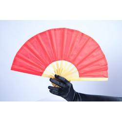 Red Bamboo Handle Party Fan