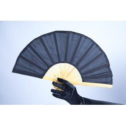 Bamboo Handle Party Fan Black