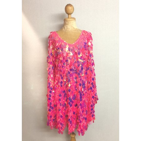 Diamond Cut Sequin Flair Bat Wing Dress Pink