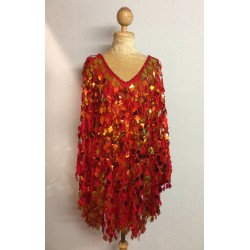 Red Diamond Cut Sequin Flair Bat Wing Dress