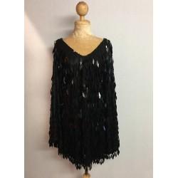 Black Diamond Cut Sequin Flair Bat Wing Dress