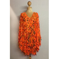 Diamond Cut Sequin Flair Bat Wing Dress Orange