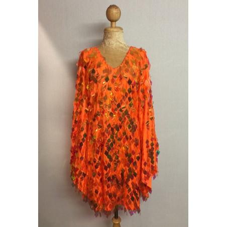 Diamond Cut Sequin Flair Bat Wing Dress Orange