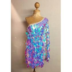 Opalescent Diamond Cut Sequin Flair Bat Wing Off The Shoulder Dress