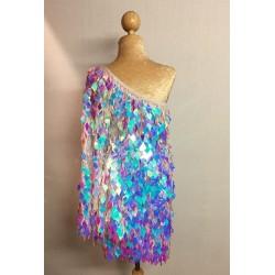 Diamond Cut Sequin Flair Bat Wing Off The Shoulder Dress Aqua