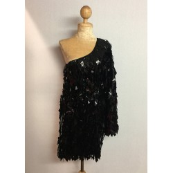 Diamond Cut Sequin Flair Bat Wing Off The Shoulder Dress Black