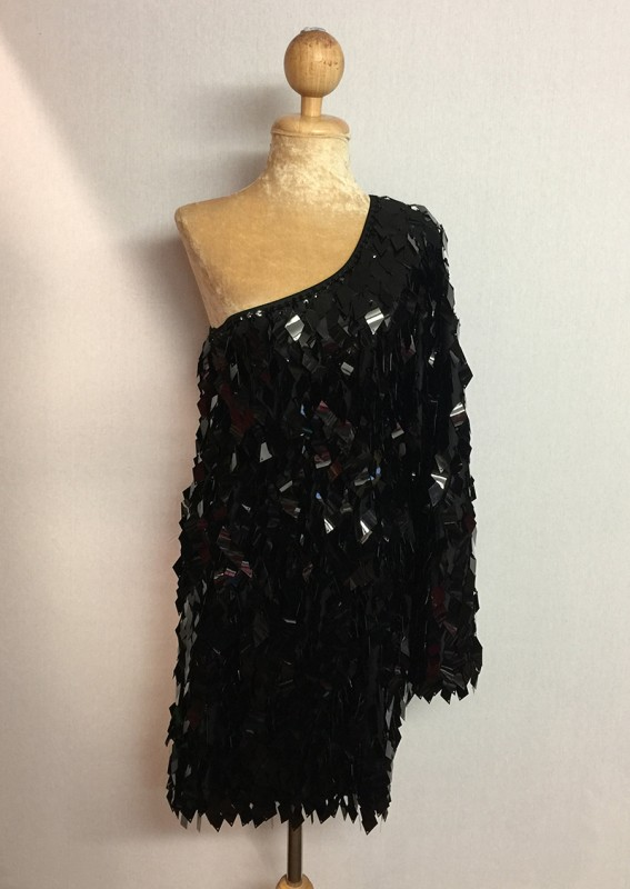 Diamond Cut Sequin Flair Bat Wing Off The Shoulder Dress Black